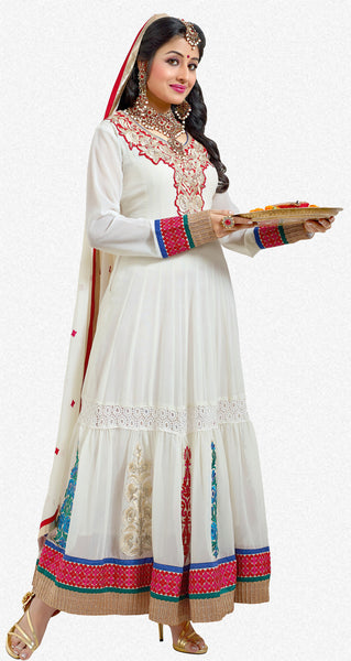 Jodha-Sonal:Classy Embroidered Anarkali White Semi stitched Salwar Kameez By atisundar - 4204 - atisundar - 1 - click to zoom