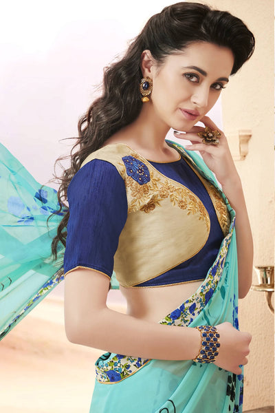Designer Saree:atisundar cute Faux Georgette Saree With Embroidered Art Banglori Silk Blouse in Blue  - 13062 - click to zoom