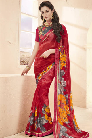 Designer Saree:atisundar Lovely Faux Georgette Saree With Embroidered Art Banglori Silk Blouse in Red  - 13063