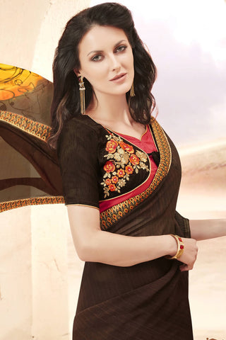 Designer Saree:atisundar appealing Faux Georgette Saree With Embroidered Art Banglori Silk Blouse in Brown  - 13064