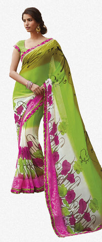 Krishna Kali:Refined Green Colored Printed Designer Saree With Border Saree - 4240 - atisundar - 1 - click to zoom