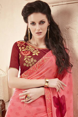 Designer Saree:atisundar Beautiful Faux Georgette Saree With Embroidered Art Banglori Silk Blouse in Peach  - 13065
