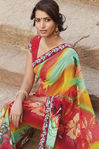 Krishna Kali:atisundar Angelic Orange Colored Saree - 4250