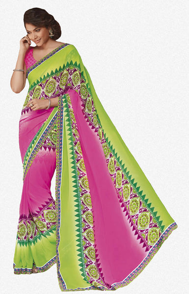 Krishna Kali:atisundar Minal: Delightful Neon Pink Colored Saree In Georgette - 4251 - atisundar - 1 - click to zoom