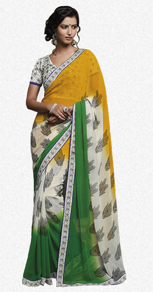 Florence:Bewitching Mehndi Colored Designer Embroidery Saree Saree - 4259 - atisundar - 2 - click to zoom