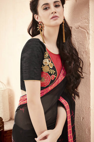 Designer Saree:atisundar graceful Faux Georgette Saree With Embroidered Art Banglori Silk Blouse in Black  - 13066