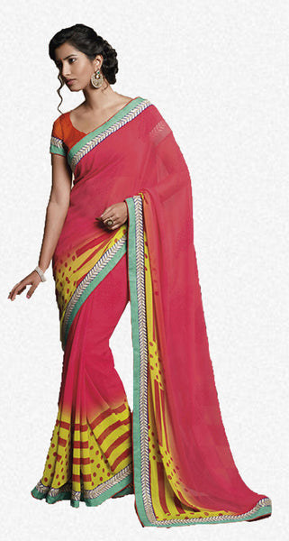 Florence:Lovely Pink Colored Designer Embroidery Saree Saree - 4267 - click to zoom