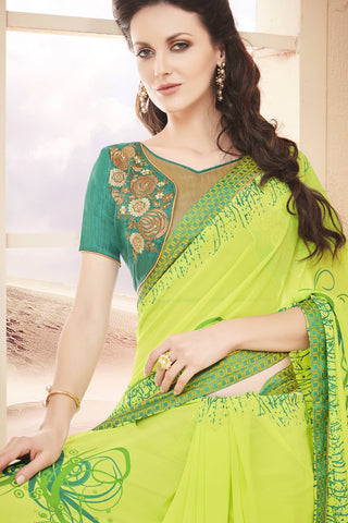 Designer Saree:atisundar angelic Faux Georgette Saree With Embroidered Art Banglori Silk Blouse in Green  - 13067