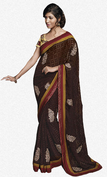 Florence:Enticing Brown Colored Designer Embroidery Saree Saree - 4279 - atisundar - 2 - click to zoom