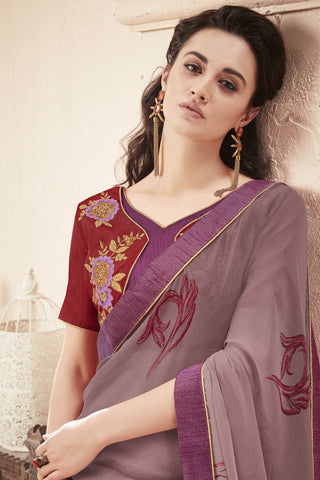 Designer Saree:atisundar enticing Faux Georgette Saree With Embroidered Art Banglori Silk Blouse in Grey  - 13068