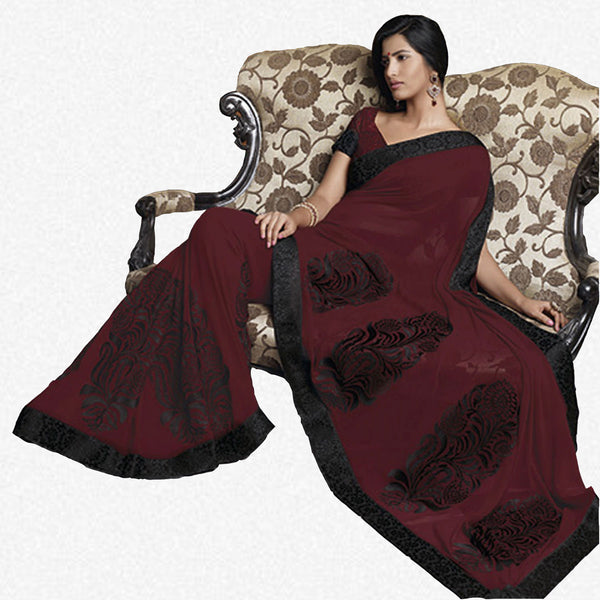 Florence:atisundar Smart Maroon Colored Saree - 4283 - atisundar - 2 - click to zoom