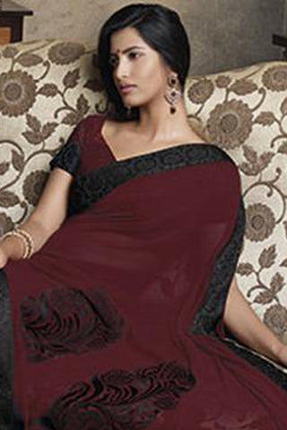 Florence:atisundar Smart Maroon Colored Saree - 4283