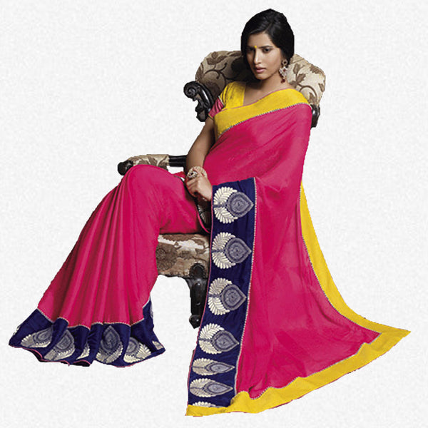 Florence:Lovely Pink Colored Designer Embroidery Saree Saree - 4286 - atisundar - 2 - click to zoom