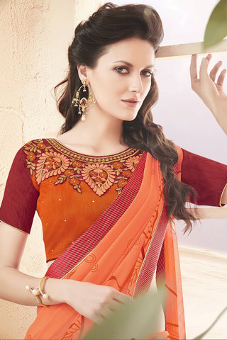 Designer Saree:atisundar Charismatic Faux Georgette Saree With Embroidered Art Banglori Silk Blouse in Orange  - 13069