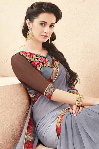 Designer Saree:atisundar bewitching Faux Georgette Saree With Embroidered Art Banglori Silk Blouse in Grey  - 13070
