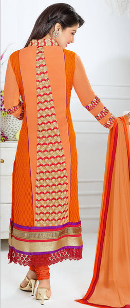 The Heena Khan Collection:atisundar Beautiful Orange Designer Straight Cut  - 9894 - atisundar - 2 - click to zoom