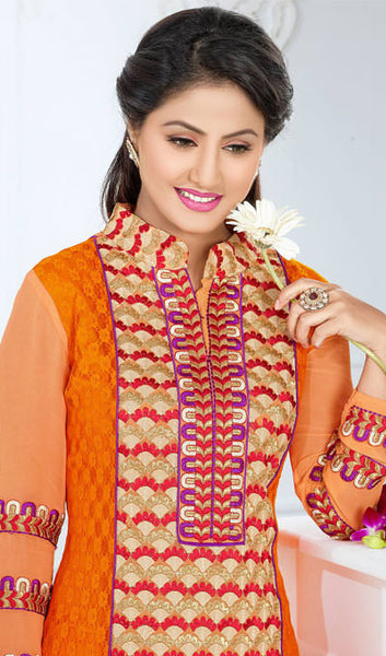 The Heena Khan Collection:atisundar Beautiful Orange Designer Straight Cut  - 9894 - atisundar - 3 - click to zoom