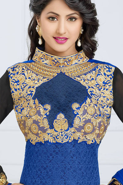 Designer Straight Cut:atisundar Lovely Blue Designer Embroidered Straight Cut - 10657 - click to zoom