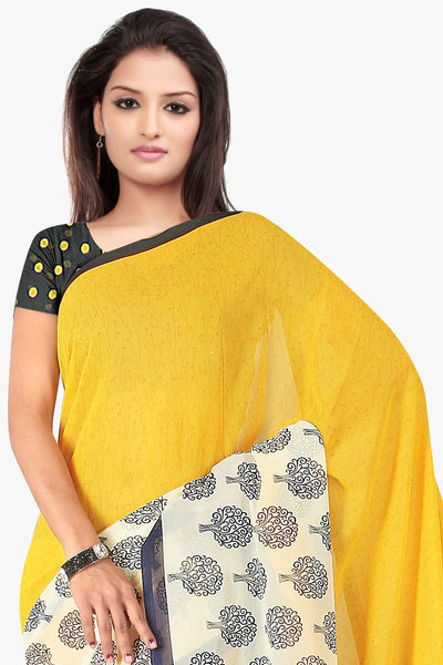 Designer Party wear Saree:atisundar charming Designer Sarees in Yellow And Dark Blue  - 11419 - click to zoom