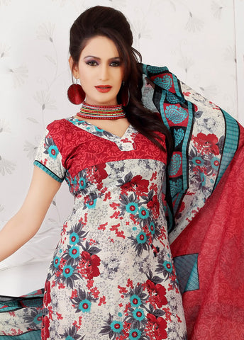 Siya Maharani:Enticing Designer Cotton Printed Salwar Suit Red And White Unstitched Salwar Kameez By atisundar - 4313 - atisundar - 3
