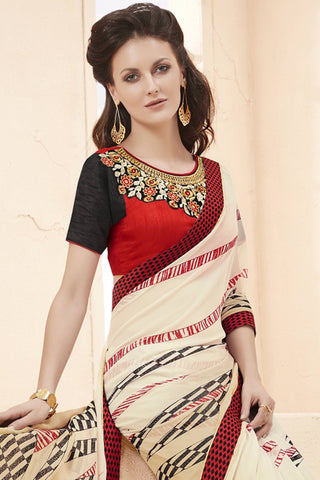 Designer Saree:atisundar enticing Faux Georgette Saree With Embroidered Art Banglori Silk Blouse in Cream  - 13072