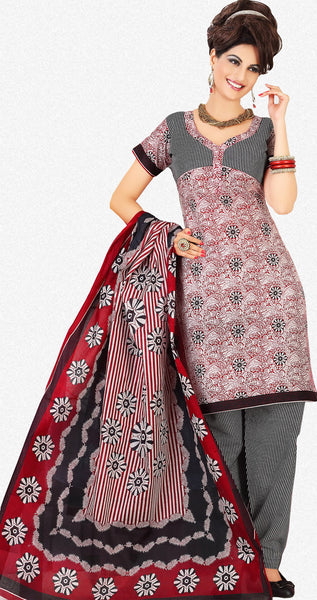 Siya Muskaan Gold:Beautiful Designer Cotton Printed Salwar Suit Maroon & White Unstitched Salwar Kameez By atisundar - 4326 - atisundar - 1 - click to zoom