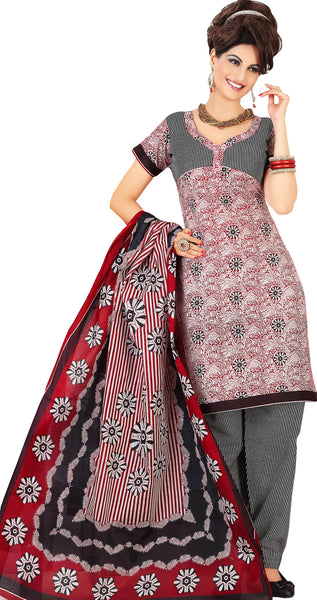 Siya Muskaan Gold:Beautiful Designer Cotton Printed Salwar Suit Maroon & White Unstitched Salwar Kameez By atisundar - 4326 - atisundar - 2 - click to zoom