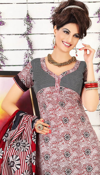 Siya Muskaan Gold:Beautiful Designer Cotton Printed Salwar Suit Maroon & White Unstitched Salwar Kameez By atisundar - 4326 - atisundar - 4 - click to zoom