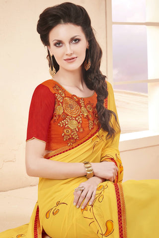 Designer Saree:atisundar delicate Faux Georgette Saree With Embroidered Art Banglori Silk Blouse in Yellow  - 13073