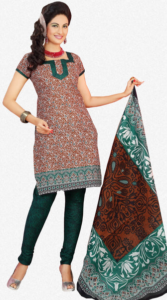 Siya Muskaan Gold:Charming Designer Cotton Printed Salwar Suit Brown White Printed Unstitched Salwar Kameez By atisundar - 4336 - atisundar - 1 - click to zoom