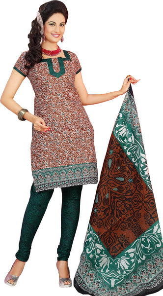 Siya Muskaan Gold:Charming Designer Cotton Printed Salwar Suit Brown White Printed Unstitched Salwar Kameez By atisundar - 4336 - atisundar - 2 - click to zoom