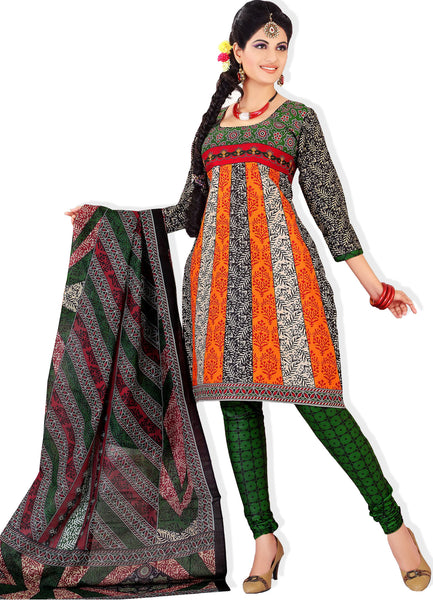 Siya Muskaan Gold:Lovely Designer Cotton Printed Salwar Suit Orange And White Unstitched Salwar Kameez By atisundar - 4343 - click to zoom