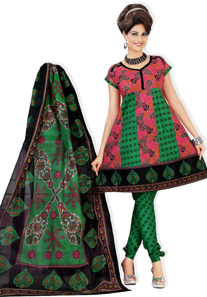 Siya Muskaan Gold:Gorgeous Designer Cotton Printed Salwar Suit Pink And Green Unstitched Salwar Kameez By atisundar - 4344 - click to zoom