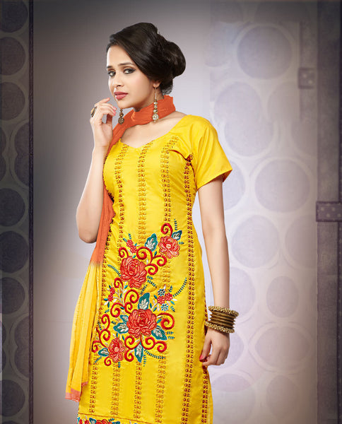 Rupika:atisundar Aghanashini: Fair Unstitched Salwar Kameez In Yellow - 4385 - click to zoom