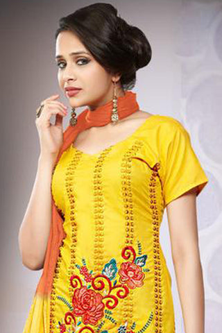 Rupika:atisundar Aghanashini: Fair Unstitched Salwar Kameez In Yellow - 4385