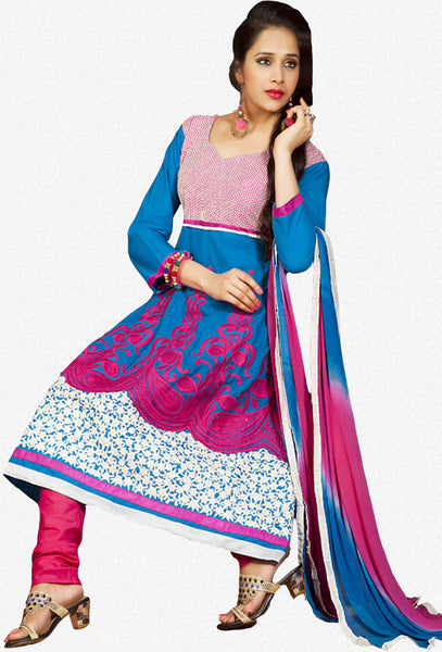 Kohinoor:Wonderful Designer Embroidered Anarkali Sky And Pink Semi stitched Salwar Kameez By atisundar - 4401 - atisundar - 1 - click to zoom
