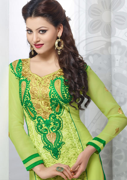 The Urvashi Rautela Collection:atisundar enticing Light Green Designer Straight Cut  - 6635 - atisundar - 3 - click to zoom
