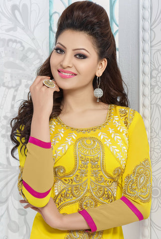 The Urvashi Rautela Collection:atisundar Great Yellow Designer Straight Cut  - 6636 - atisundar - 3