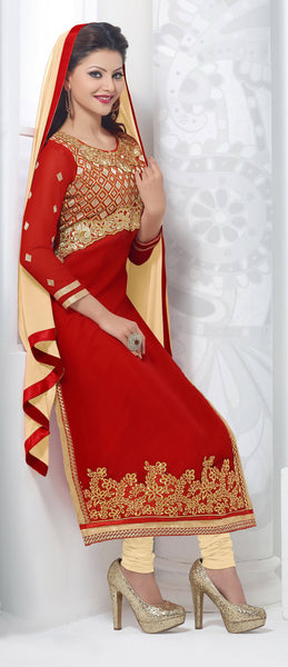 The Urvashi Rautela Collection:atisundar appealing Red Designer Straight Cut  - 6638 - atisundar - 3 - click to zoom