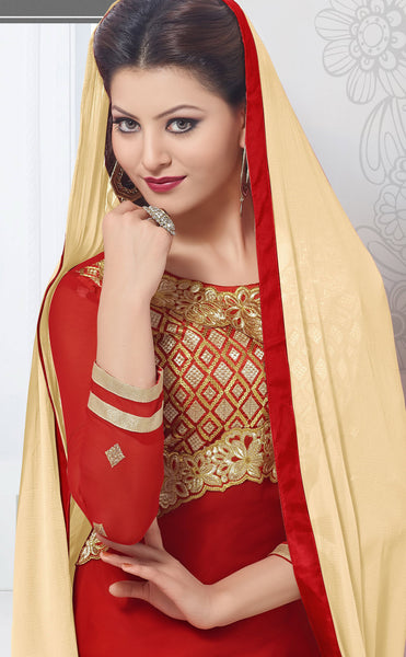The Urvashi Rautela Collection:atisundar appealing Red Designer Straight Cut  - 6638 - atisundar - 4 - click to zoom