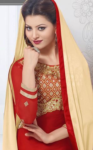 The Urvashi Rautela Collection:atisundar appealing Red Designer Straight Cut  - 6638 - atisundar - 4