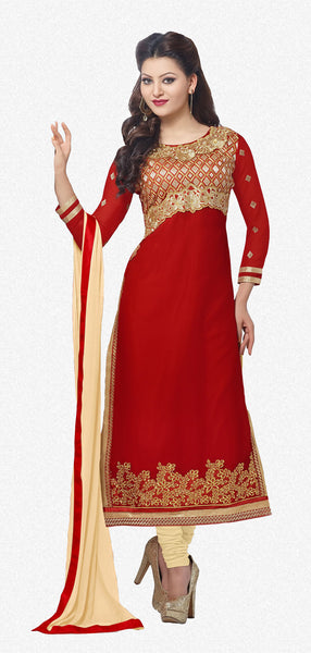 The Urvashi Rautela Collection:atisundar appealing Red Designer Straight Cut  - 6638 - atisundar - 1 - click to zoom