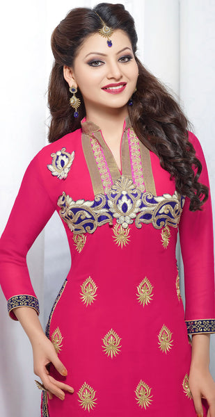 The Urvashi Rautela Collection:atisundar pretty Pink Designer Straight Cut  - 6640 - atisundar - 3 - click to zoom