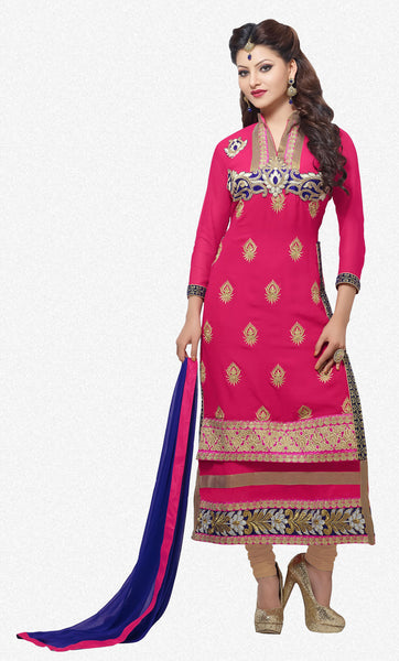 The Urvashi Rautela Collection:atisundar pretty Pink Designer Straight Cut  - 6640 - atisundar - 1 - click to zoom