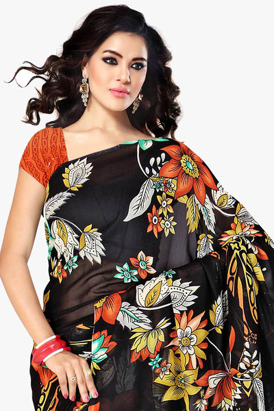 Designer Part wear Saree:atisundar wonderful Designer Sarees in Black  - 11421 - click to zoom