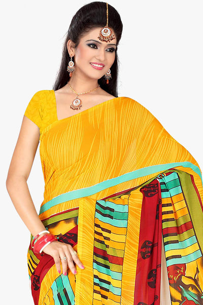 Designer Party wear Saree:atisundar enticing Designer Sarees in Yellow And Multy  - 11422 - click to zoom
