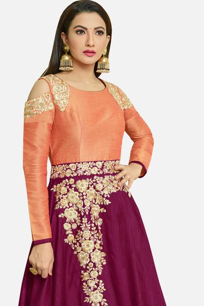 Embroidered Party Wear Anarkali:atisundar cute Purple Designer Embroidered Festive Anarkali - 15251 - click to zoom