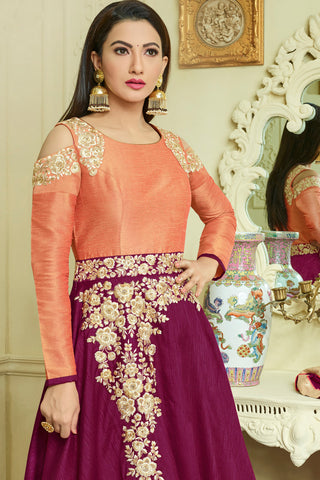 Embroidered Party Wear Anarkali:atisundar cute Purple Designer Embroidered Festive Anarkali - 15251