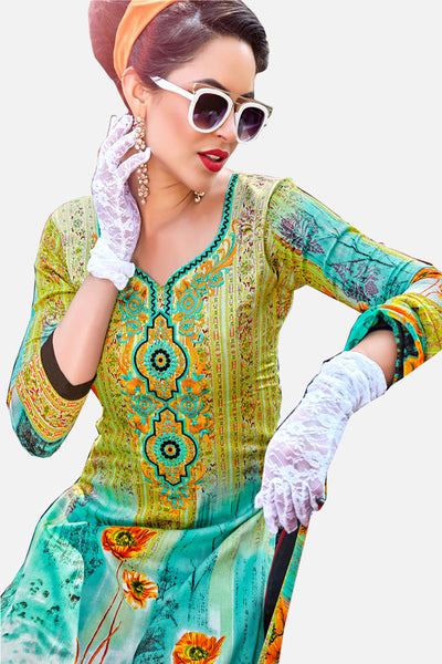Designer Embroidered Straight Cut Suit With Print:atisundar fascinating Green print with embroidered - 14565 - click to zoom
