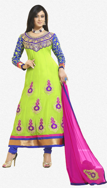 atisundar Shweta:Angelic Designer Embroidered Anarkali Blue And Green Semi stitched Salwar Kameez By atisundar - 4412 - click to zoom